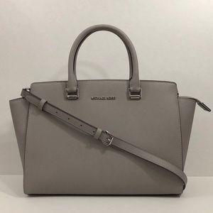 Michael Kors large gray satchel bag